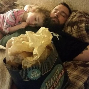 I went to go make Father's Day breakfast and came back to them like this. They fell asleep waiting on me so Sam could open his gifts. D'awww…