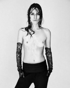 Women with small breasts like Keira Knightley are often applauded for posing nude, reinforcing the idea of a double standard. Photo: Interview Magazine